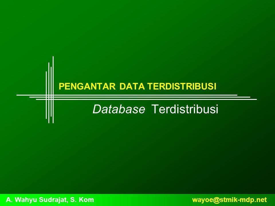 wayoe@stmik-mdp.netA. Wahyu Sudrajat, S. Kom PENGANTAR DATA TERDISTRIBUSI Database Terdistribusi