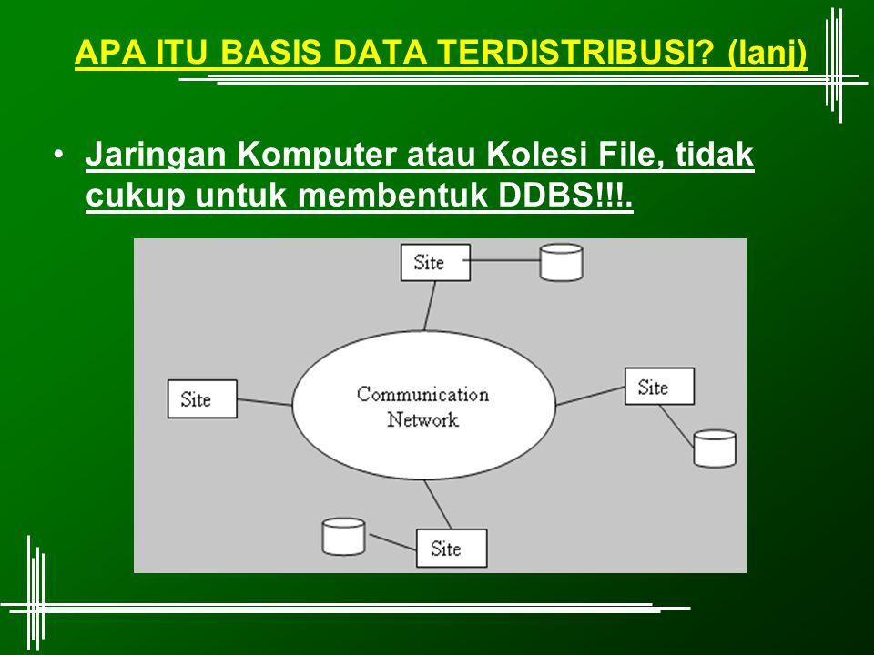 APA ITU BASIS DATA TERDISTRIBUSI? (lanj) Jaringan Komputer atau Kolesi File, tidak cukup untuk membentuk DDBS!!!.
