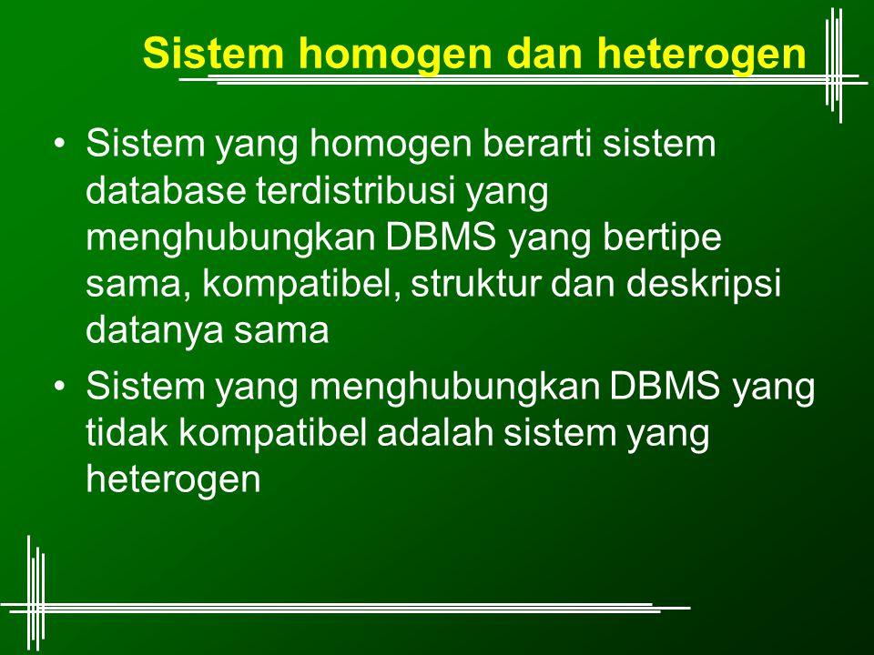 Sistem homogen dan heterogen Sistem yang homogen berarti sistem database terdistribusi yang menghubungkan DBMS yang bertipe sama, kompatibel, struktur dan deskripsi datanya sama Sistem yang menghubungkan DBMS yang tidak kompatibel adalah sistem yang heterogen