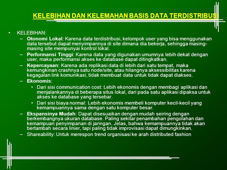 KELEBIHAN DAN KELEMAHAN BASIS DATA TERDISTRIBUSI KELEBIHAN: –Otonomi Lokal: Karena data terdistribusi, kelompok user yang bisa menggunakan data terseb