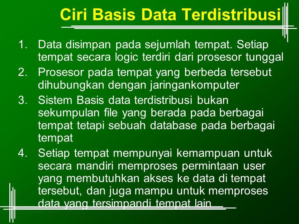 Ciri Basis Data Terdistribusi 1.Data disimpan pada sejumlah tempat. Setiap tempat secara logic terdiri dari prosesor tunggal 2.Prosesor pada tempat ya