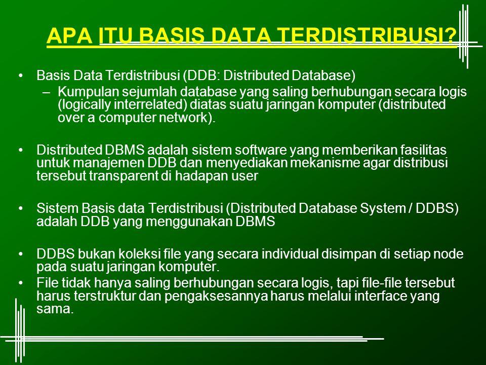 APA ITU BASIS DATA TERDISTRIBUSI? Basis Data Terdistribusi (DDB: Distributed Database) –Kumpulan sejumlah database yang saling berhubungan secara logi