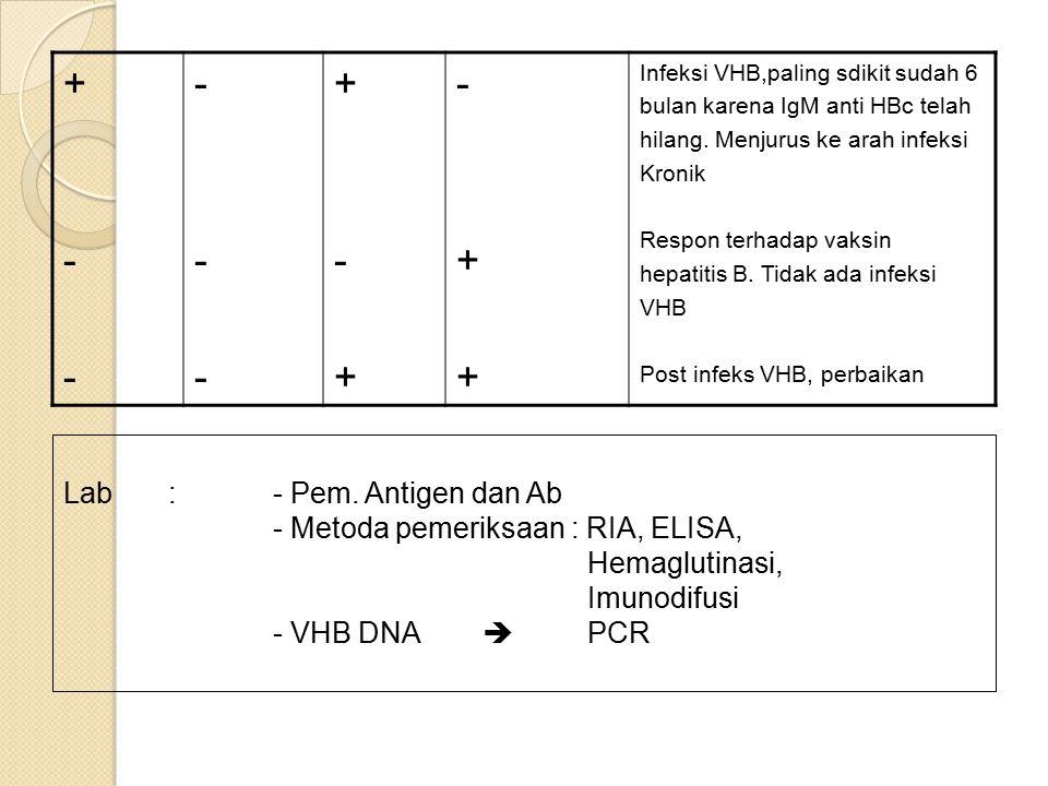 +--+-- ------ +-++-+ -++-++ Infeksi VHB,paling sdikit sudah 6 bulan karena IgM anti HBc telah hilang.