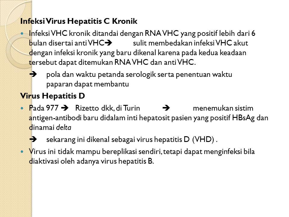 Infeksi Virus Hepatitis C Kronik Infeksi VHC kronik ditandai dengan RNA VHC yang positif lebih dari 6 bulan disertai anti VHC  sulit membedakan infeksi VHC akut dengan infeksi kronik yang baru dikenal karena pada kedua keadaan tersebut dapat ditemukan RNA VHC dan anti VHC.
