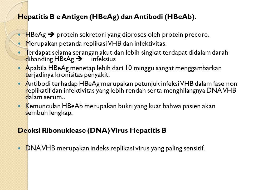Hepatitis B e Antigen (HBeAg) dan Antibodi (HBeAb).