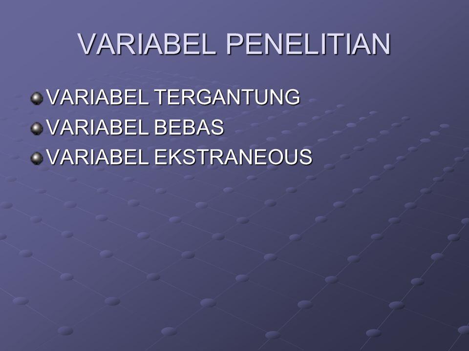 VARIABEL PENELITIAN VARIABEL TERGANTUNG VARIABEL BEBAS VARIABEL EKSTRANEOUS