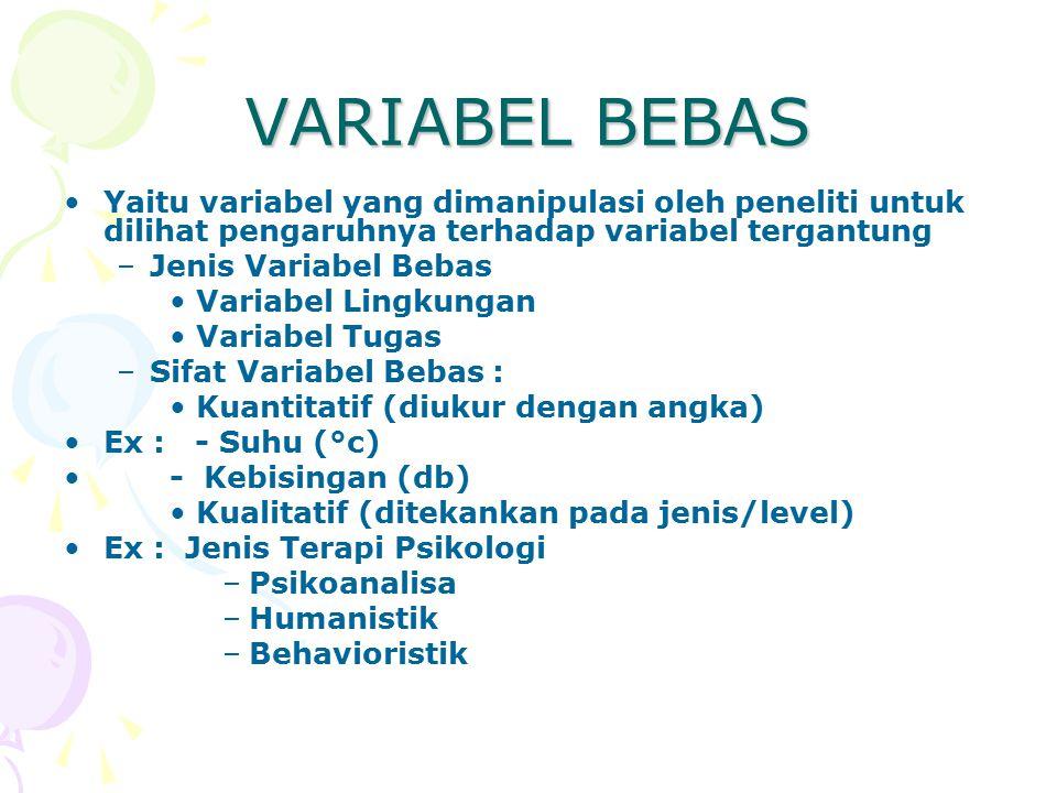 VARIABEL BEBAS Yaitu variabel yang dimanipulasi oleh peneliti untuk dilihat pengaruhnya terhadap variabel tergantung –Jenis Variabel Bebas Variabel Lingkungan Variabel Tugas –Sifat Variabel Bebas : Kuantitatif (diukur dengan angka) Ex : - Suhu (°c) - Kebisingan (db) Kualitatif (ditekankan pada jenis/level) Ex : Jenis Terapi Psikologi –Psikoanalisa –Humanistik –Behavioristik