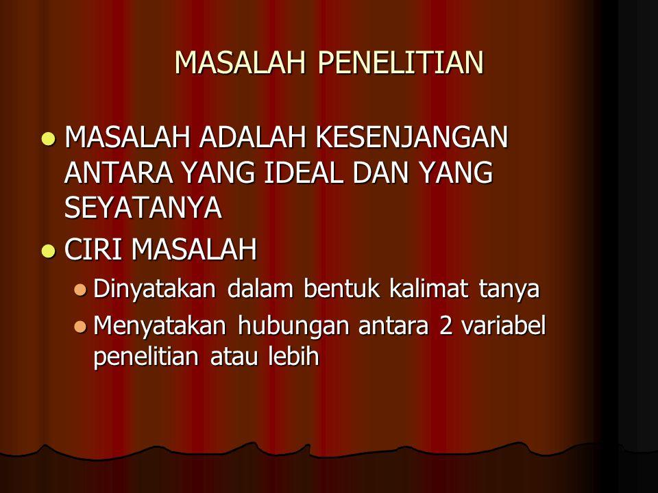 MASALAH PENELITIAN MASALAH ADALAH KESENJANGAN ANTARA YANG IDEAL DAN YANG SEYATANYA MASALAH ADALAH KESENJANGAN ANTARA YANG IDEAL DAN YANG SEYATANYA CIR