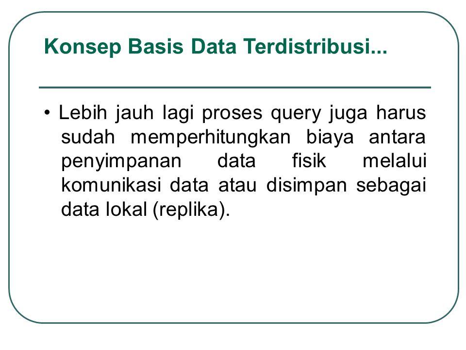 Lebih jauh lagi proses query juga harus sudah memperhitungkan biaya antara penyimpanan data fisik melalui komunikasi data atau disimpan sebagai data l