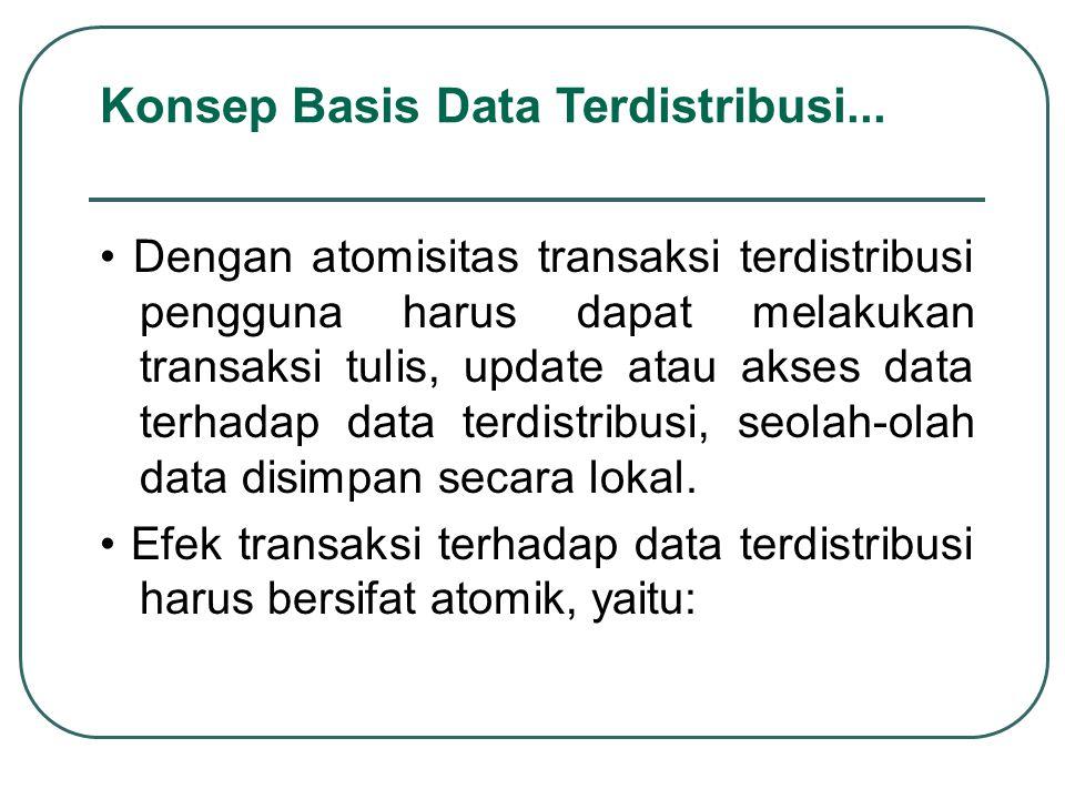Dengan atomisitas transaksi terdistribusi pengguna harus dapat melakukan transaksi tulis, update atau akses data terhadap data terdistribusi, seolah-o