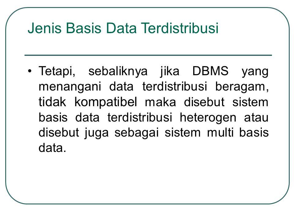 Jenis Basis Data Terdistribusi Tetapi, sebaliknya jika DBMS yang menangani data terdistribusi beragam, tidak kompatibel maka disebut sistem basis data