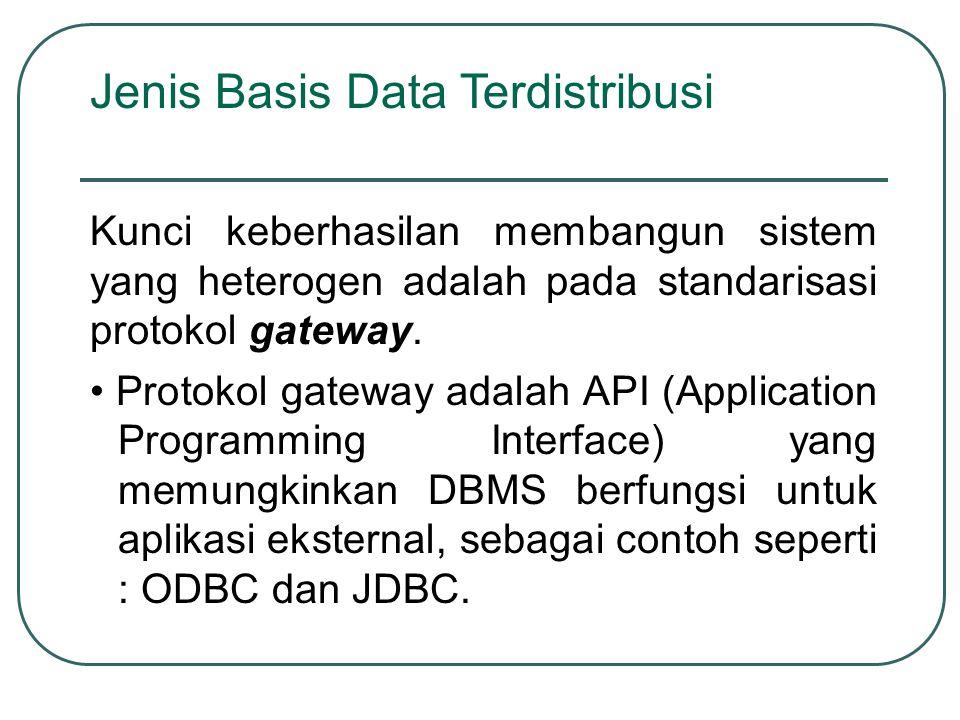 Kunci keberhasilan membangun sistem yang heterogen adalah pada standarisasi protokol gateway. Protokol gateway adalah API (Application Programming Int