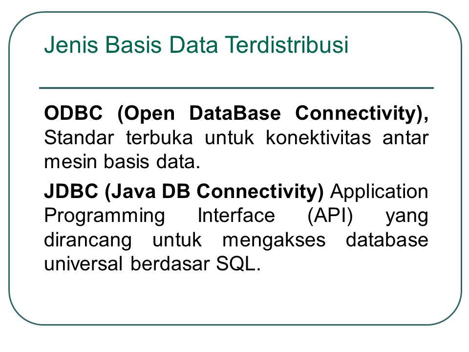 ODBC (Open DataBase Connectivity), Standar terbuka untuk konektivitas antar mesin basis data. JDBC (Java DB Connectivity) Application Programming Inte
