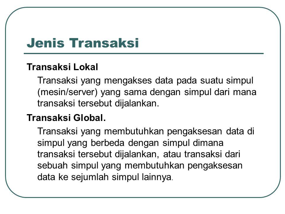 Jenis Transaksi Transaksi Lokal Transaksi yang mengakses data pada suatu simpul (mesin/server) yang sama dengan simpul dari mana transaksi tersebut di
