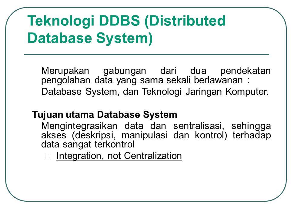Teknologi DDBS (Distributed Database System) Merupakan gabungan dari dua pendekatan pengolahan data yang sama sekali berlawanan : –Database System, da