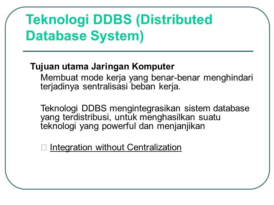 Teknologi DDBS (Distributed Database System) Tujuan utama Jaringan Komputer –Membuat mode kerja yang benar-benar menghindari terjadinya sentralisasi b