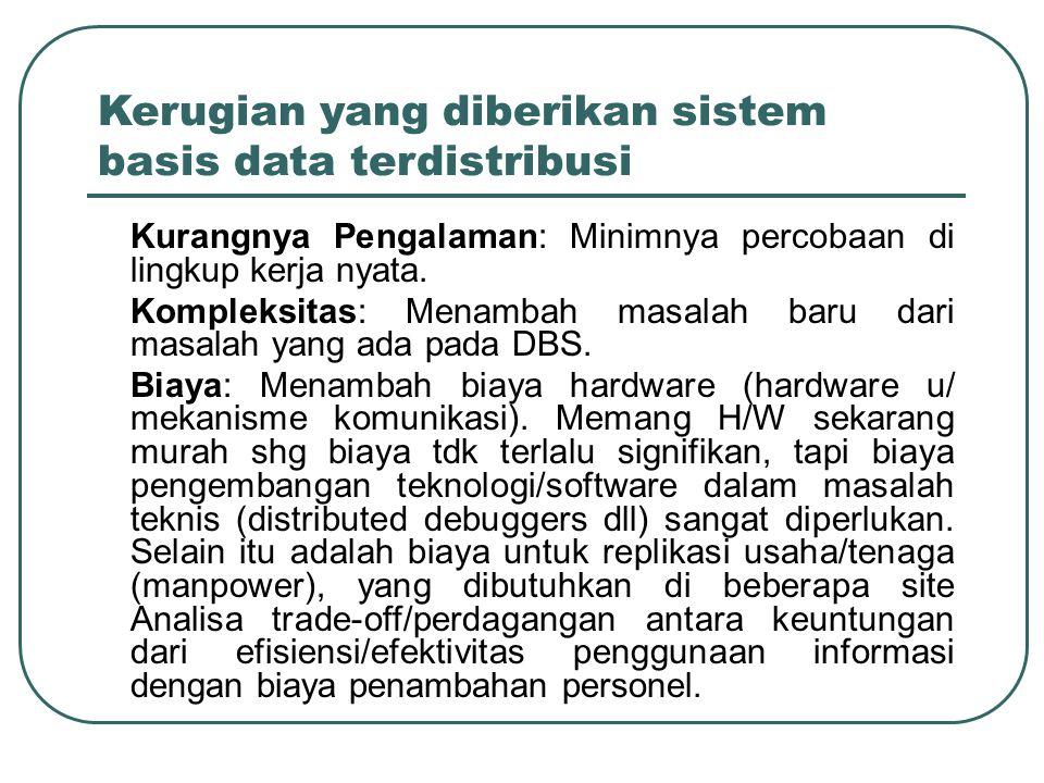 Kerugian yang diberikan sistem basis data terdistribusi –Kurangnya Pengalaman: Minimnya percobaan di lingkup kerja nyata. –Kompleksitas: Menambah masa