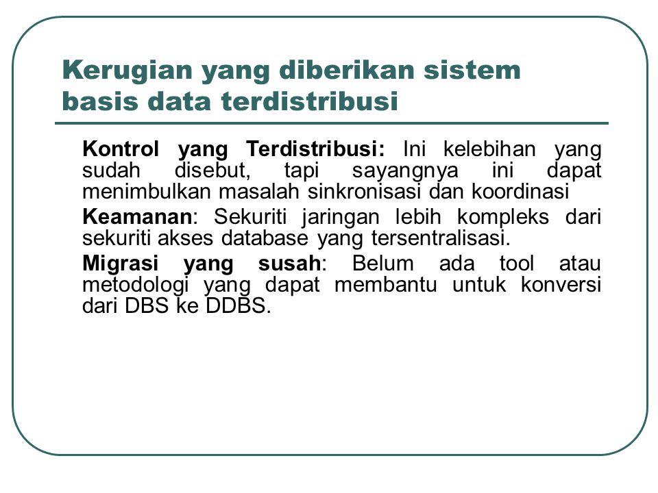 Kerugian yang diberikan sistem basis data terdistribusi –Kontrol yang Terdistribusi: Ini kelebihan yang sudah disebut, tapi sayangnya ini dapat menimb