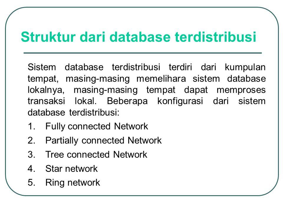 Struktur dari database terdistribusi Sistem database terdistribusi terdiri dari kumpulan tempat, masing-masing memelihara sistem database lokalnya, ma