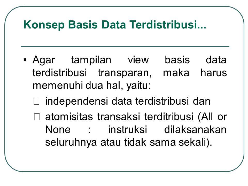Agar tampilan view basis data terdistribusi transparan, maka harus memenuhi dua hal, yaitu:  independensi data terdistribusi dan  atomisitas transak
