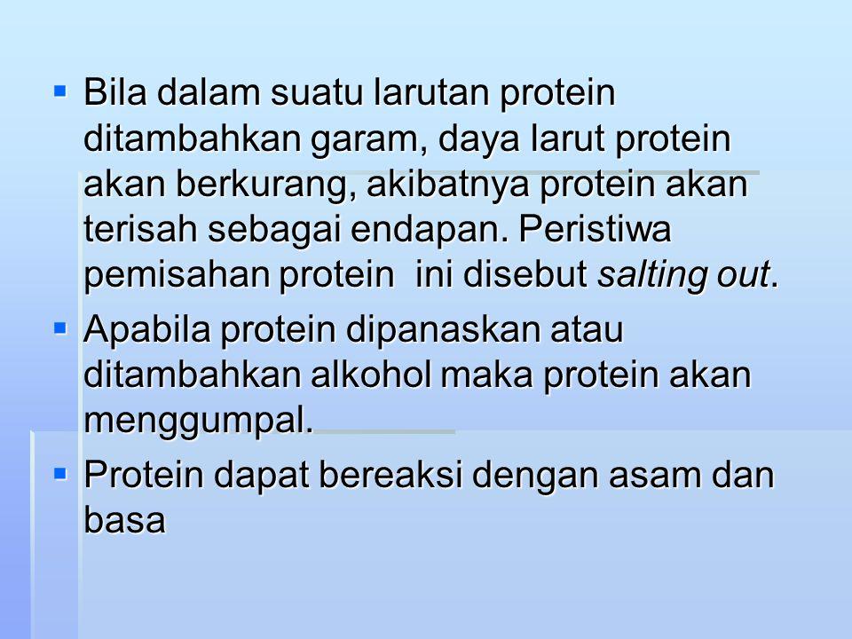  Bila dalam suatu larutan protein ditambahkan garam, daya larut protein akan berkurang, akibatnya protein akan terisah sebagai endapan.