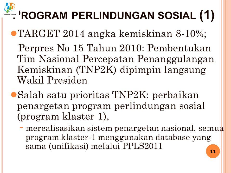 P ROGRAM PERLINDUNGAN SOSIAL (1) ● TARGET 2014 angka kemiskinan 8-10%; Perpres No 15 Tahun 2010: Pembentukan Tim Nasional Percepatan Penanggulangan Kemiskinan (TNP2K) dipimpin langsung Wakil Presiden ● Salah satu prioritas TNP2K: perbaikan penargetan program perlindungan sosial (program klaster 1), - merealisasikan sistem penargetan nasional, semua program klaster-1 menggunakan database yang sama (unifikasi) melalui PPLS2011 11