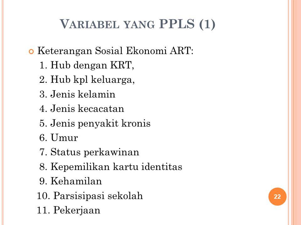 V ARIABEL YANG PPLS (1) Keterangan Sosial Ekonomi ART: 1. Hub dengan KRT, 2. Hub kpl keluarga, 3. Jenis kelamin 4. Jenis kecacatan 5. Jenis penyakit k