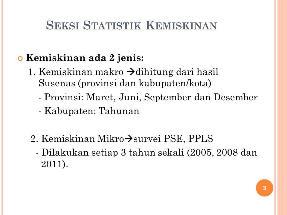 S EKSI S TATISTIK K EMISKINAN Kemiskinan ada 2 jenis: 1. Kemiskinan makro  dihitung dari hasil Susenas (provinsi dan kabupaten/kota) - Provinsi: Mare
