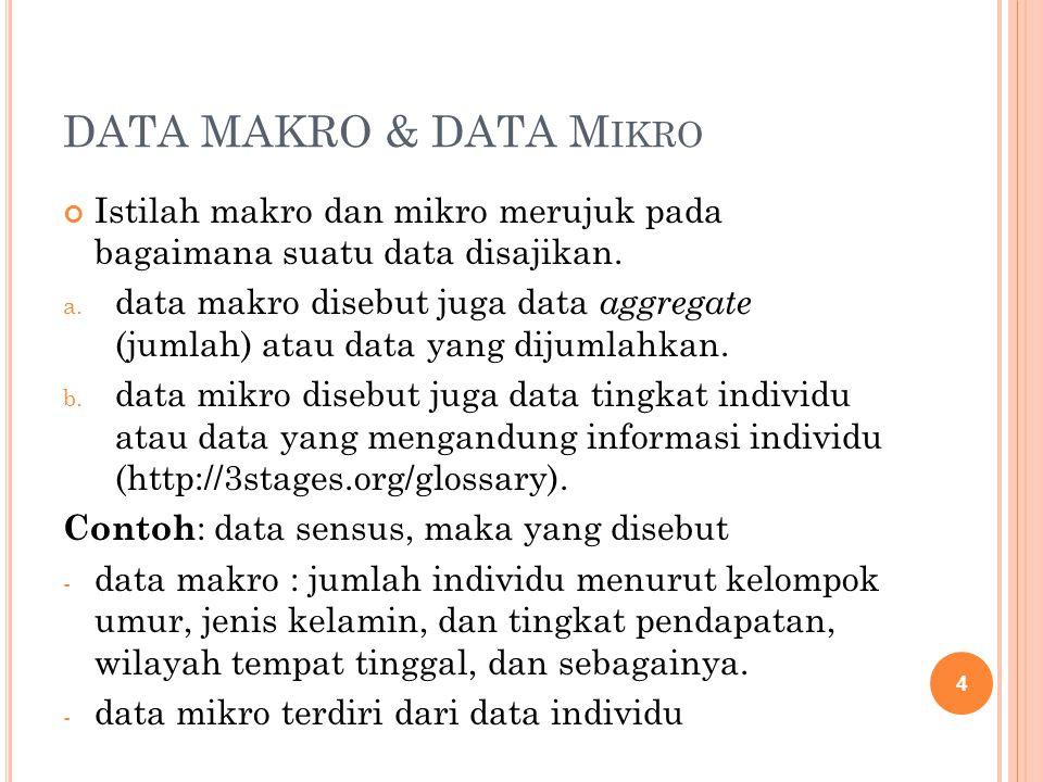 DATA MAKRO & DATA M IKRO Istilah makro dan mikro merujuk pada bagaimana suatu data disajikan. a. data makro disebut juga data aggregate (jumlah) atau