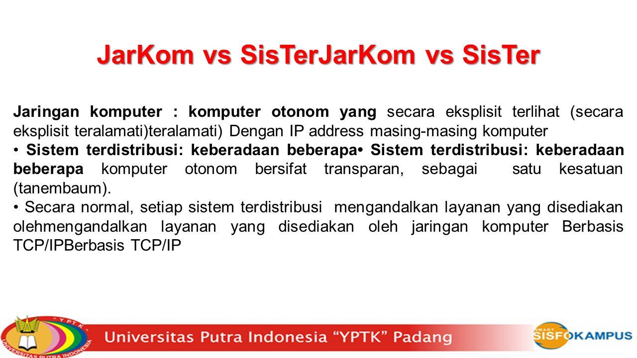 JarKom vs SisTerJarKom vs SisTer Jaringan komputer : komputer otonom yang secara eksplisit terlihat (secara eksplisit teralamati)teralamati) Dengan IP