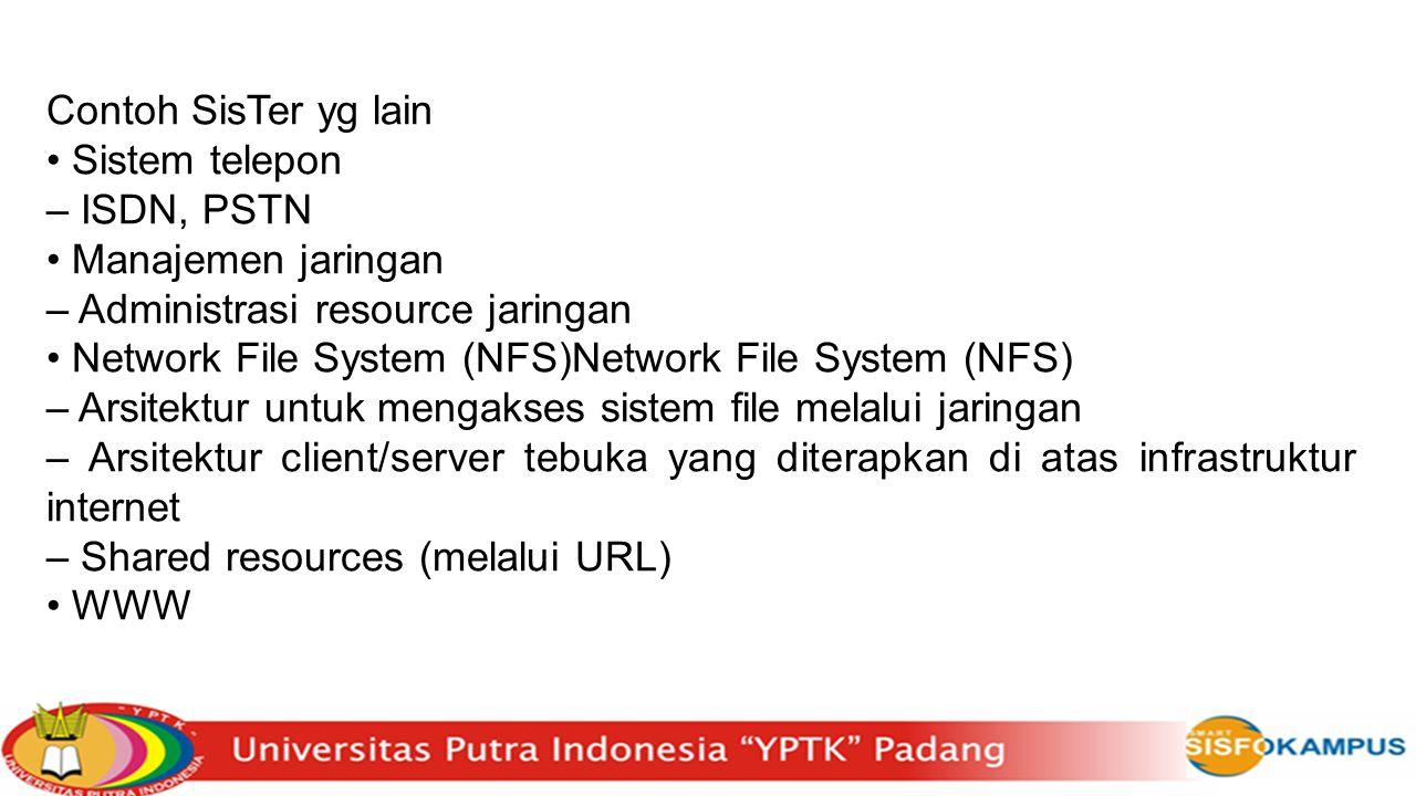 Contoh SisTer yg lain Sistem telepon – ISDN, PSTN Manajemen jaringan – Administrasi resource jaringan Network File System (NFS)Network File System (NF