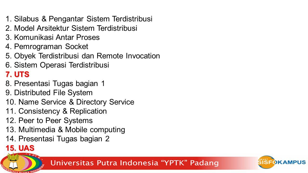 1.Silabus & Pengantar Sistem Terdistribusi 2.Model Arsitektur Sistem Terdistribusi 3.Komunikasi Antar Proses 4.Pemrograman Socket 5.Obyek Terdistribus