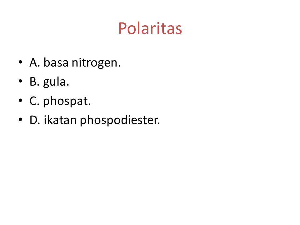 DNA (2) Ikatan fosfodiester yang menghubungkan molekul mononukleotida. Polaritas rantai polinukleotida. Bab 3 Substansi Genetika D A B C
