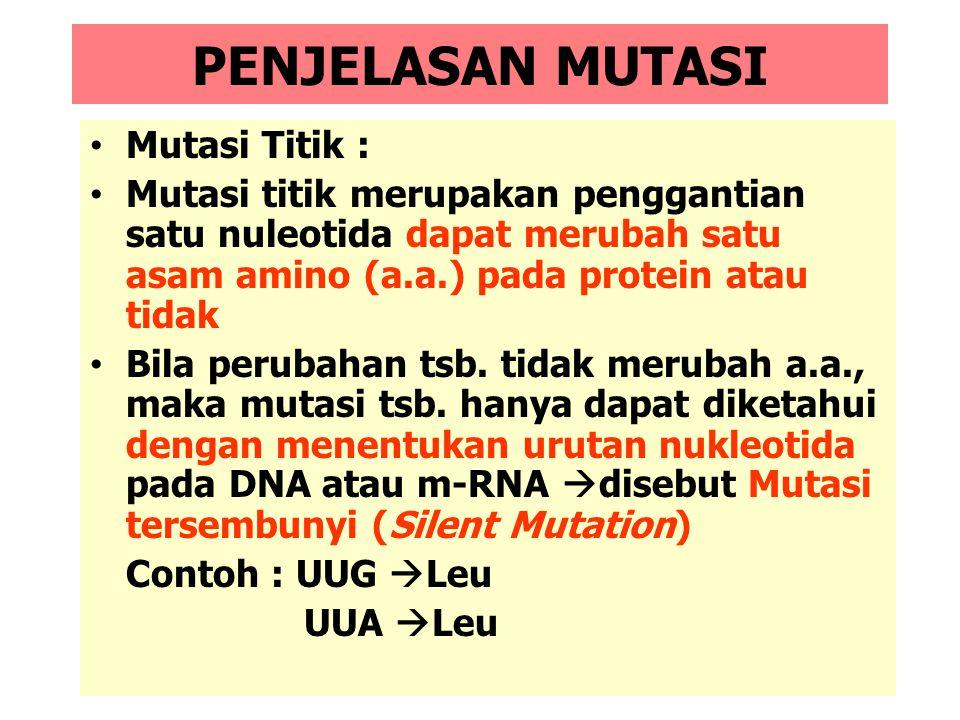 MUTASI Mutasi : Perubahan Genetik Menetap Percobaan in vitro membuktikan bahwa ada : 1.Mutasi Titik (Point Mutation): Penggantian satu nukleotida deng