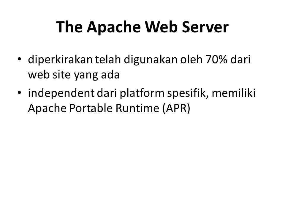 The Apache Web Server diperkirakan telah digunakan oleh 70% dari web site yang ada independent dari platform spesifik, memiliki Apache Portable Runtim