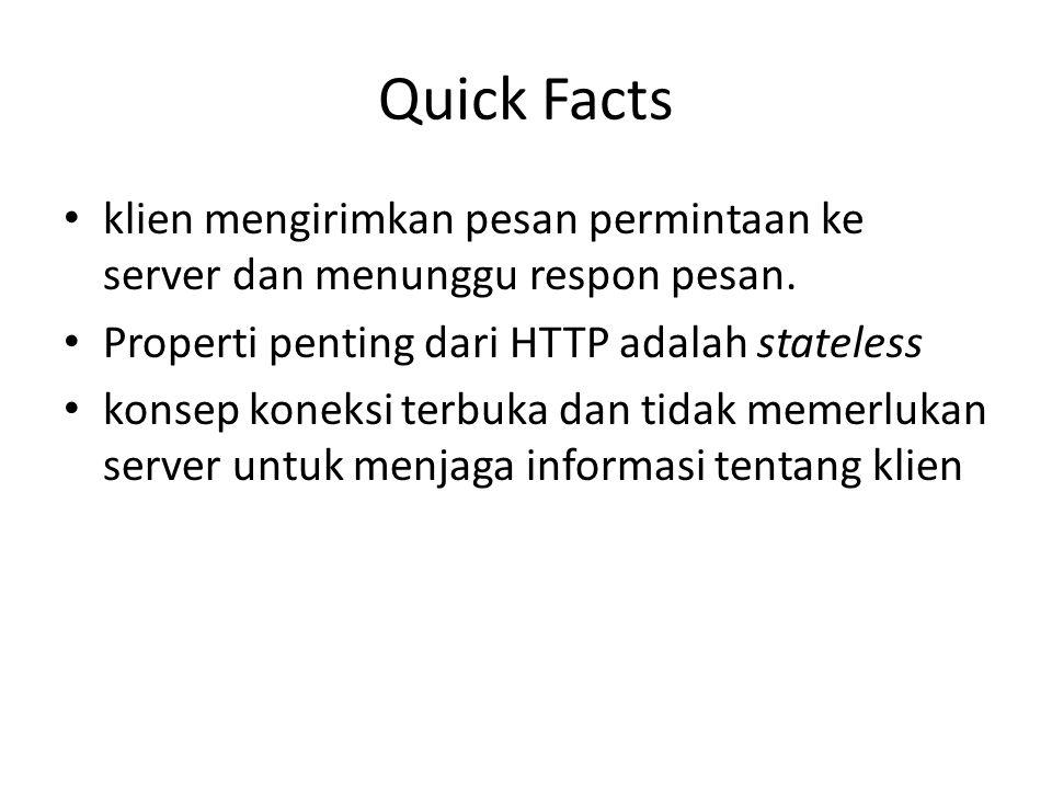 Quick Facts klien mengirimkan pesan permintaan ke server dan menunggu respon pesan. Properti penting dari HTTP adalah stateless konsep koneksi terbuka