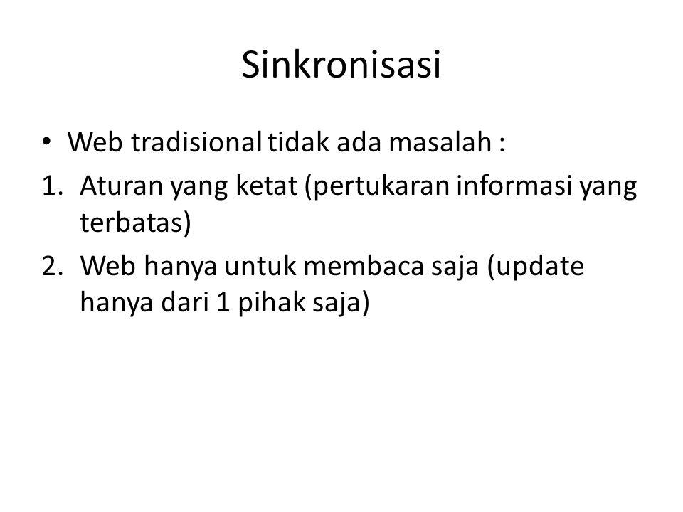 Sinkronisasi Web tradisional tidak ada masalah : 1.Aturan yang ketat (pertukaran informasi yang terbatas) 2.Web hanya untuk membaca saja (update hanya