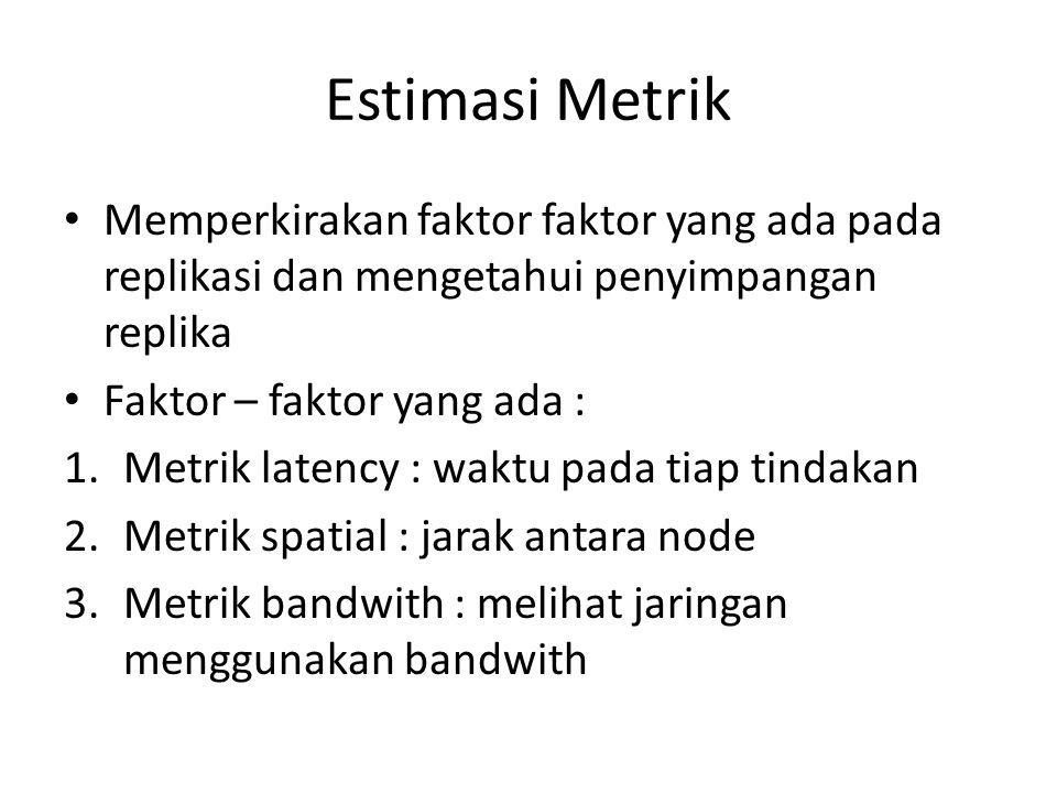 Estimasi Metrik Memperkirakan faktor faktor yang ada pada replikasi dan mengetahui penyimpangan replika Faktor – faktor yang ada : 1.Metrik latency :