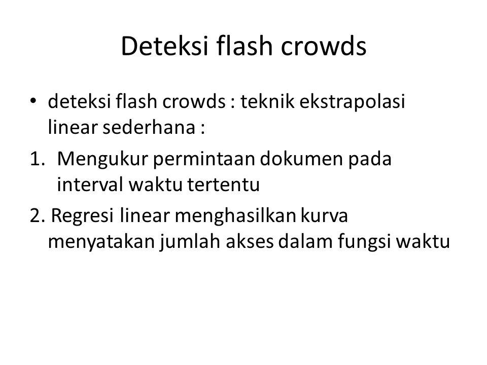 Deteksi flash crowds deteksi flash crowds : teknik ekstrapolasi linear sederhana : 1.Mengukur permintaan dokumen pada interval waktu tertentu 2. Regre