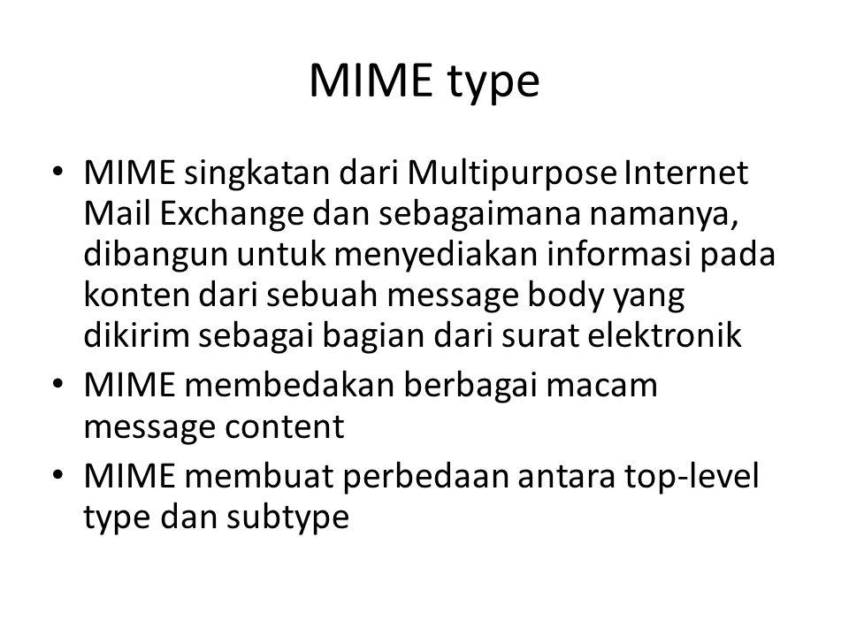 MIME type MIME singkatan dari Multipurpose Internet Mail Exchange dan sebagaimana namanya, dibangun untuk menyediakan informasi pada konten dari sebua