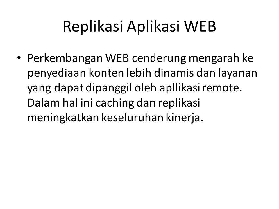 Replikasi Aplikasi WEB Perkembangan WEB cenderung mengarah ke penyediaan konten lebih dinamis dan layanan yang dapat dipanggil oleh apllikasi remote.