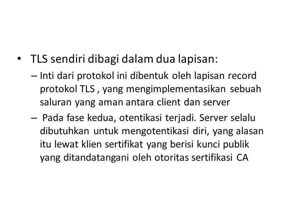 TLS sendiri dibagi dalam dua lapisan: – Inti dari protokol ini dibentuk oleh lapisan record protokol TLS, yang mengimplementasikan sebuah saluran yang