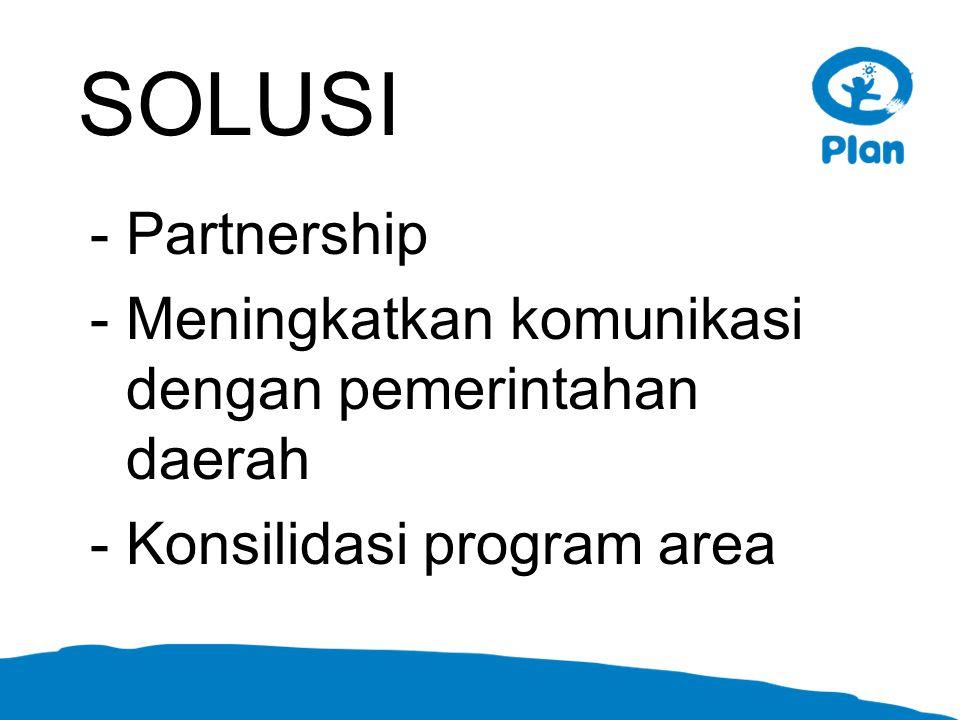 SOLUSI -Partnership -Meningkatkan komunikasi dengan pemerintahan daerah -Konsilidasi program area