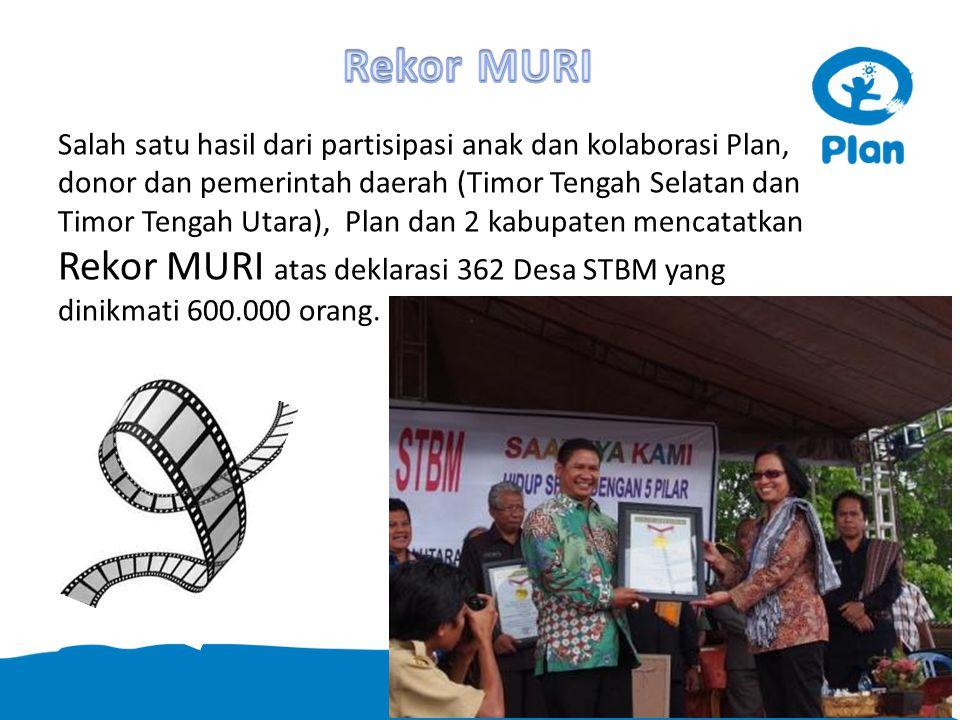 Salah satu hasil dari partisipasi anak dan kolaborasi Plan, donor dan pemerintah daerah (Timor Tengah Selatan dan Timor Tengah Utara), Plan dan 2 kabupaten mencatatkan Rekor MURI atas deklarasi 362 Desa STBM yang dinikmati 600.000 orang.