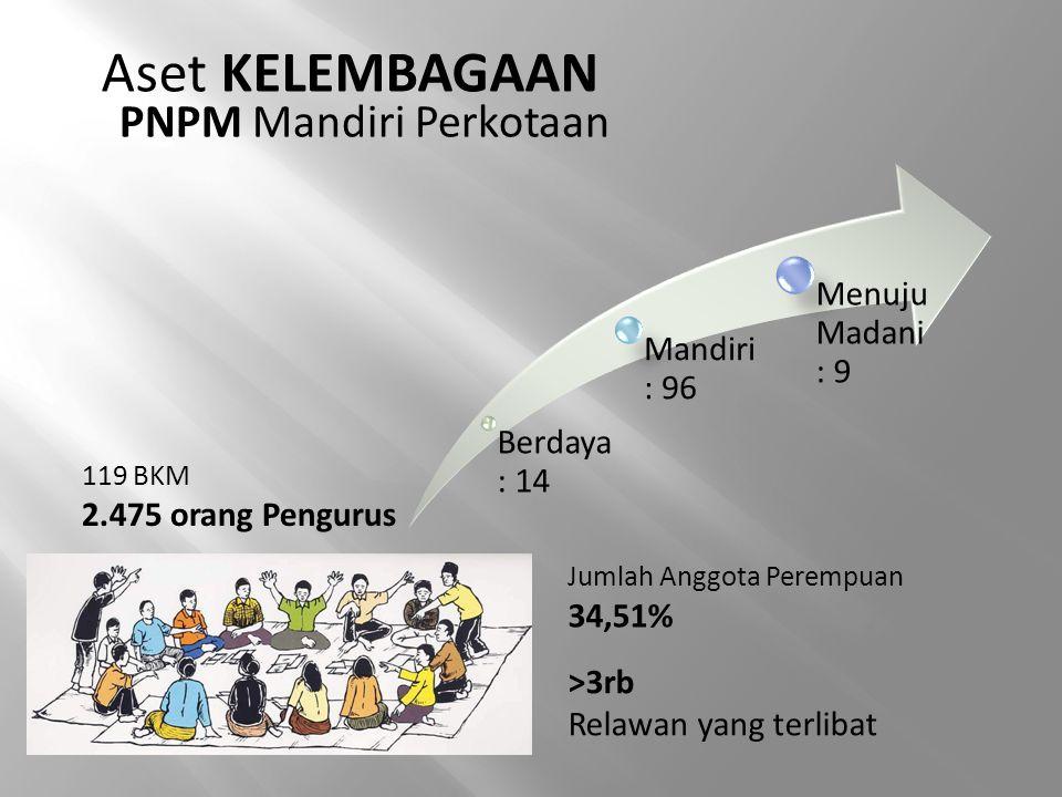 Aset KELEMBAGAAN PNPM Mandiri Perkotaan 119 BKM 2.475 orang Pengurus Berdaya : 14 Mandiri : 96 Menuju Madani : 9 >3rb Relawan yang terlibat Jumlah Ang