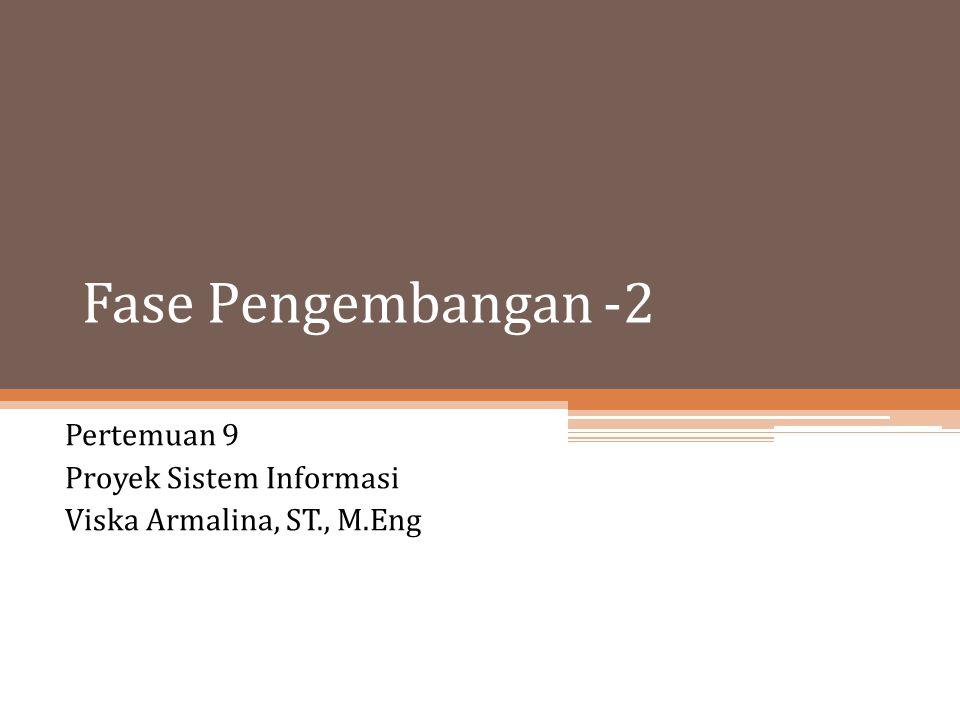 Fase Pengembangan -2 Pertemuan 9 Proyek Sistem Informasi Viska Armalina, ST., M.Eng