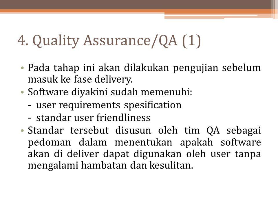 4. Quality Assurance/QA (1) Pada tahap ini akan dilakukan pengujian sebelum masuk ke fase delivery. Software diyakini sudah memenuhi: - user requireme