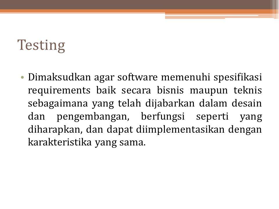 Testing Dimaksudkan agar software memenuhi spesifikasi requirements baik secara bisnis maupun teknis sebagaimana yang telah dijabarkan dalam desain da