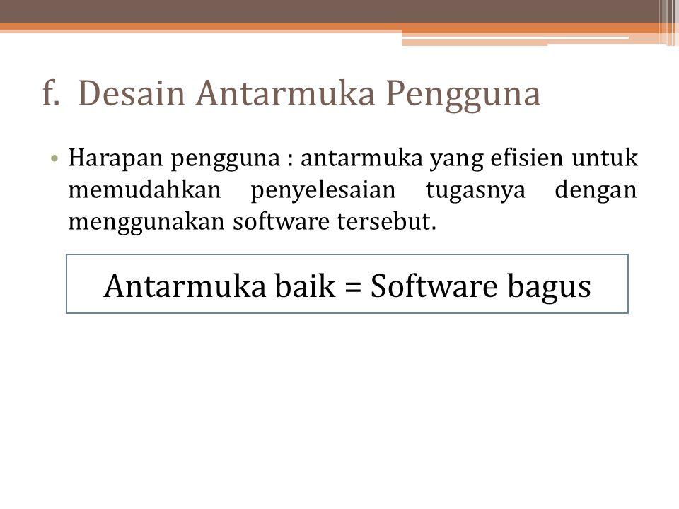 f. Desain Antarmuka Pengguna Harapan pengguna : antarmuka yang efisien untuk memudahkan penyelesaian tugasnya dengan menggunakan software tersebut. An