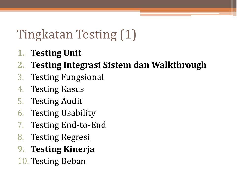 Tingkatan Testing (1) 1.Testing Unit 2.Testing Integrasi Sistem dan Walkthrough 3.Testing Fungsional 4.Testing Kasus 5.Testing Audit 6.Testing Usabili